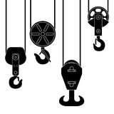 Hook suspension. A special device for lifting loads. Set of crane hook suspension. Special device for lifting loads. Vector illustration. Black silhouette on Royalty Free Stock Photos