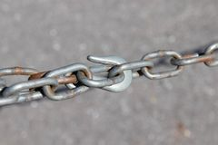 Hook chain close up clip loop royalty free stock photos