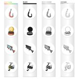 Hook with a worm, bait for fishing, rudd, spinning reel. Fishing set collection icons in cartoon black monochrome. Outline style vector symbol stock Royalty Free Stock Image