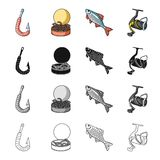 Hook with a worm, bait for fishing, rudd, spinning reel. Fishing set collection icons in cartoon black monochrome Royalty Free Stock Images