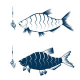 Hook with worm and bream  design template. Hook with worm and bream vector design template Stock Image