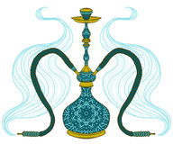 Hookah with arabic pattern and smoke. Vintage vector hand drawn illustration Royalty Free Stock Photos