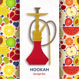 Hookah background with pipe for smoking tobacco and shisha. Pattern with fruits at the back. Royalty Free Stock Photo
