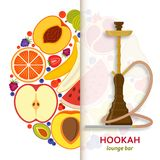 Hookah background with pipe for smoking tobacco and shisha. Pattern with fruits at the back. Stock Photo