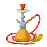 Hookah calabash with one long red pipe isolated on white Royalty Free Stock Photography