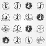 Hookah club icons set Royalty Free Stock Photography