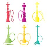 Hookah collection. Colorful logos. Vector silhouette. Hookah label, emblem. Hookah collection. Colorful logos. Vector silhouette. Hookah label emblem badge Royalty Free Stock Image