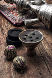 Hookah and dry elite tea leaves Royalty Free Stock Photo