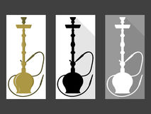 hookah Ensemble de narguilé noir et blanc Style plat Photo stock