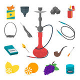 Hookah Flat Icon Set. Vector. Hookah Icon Set Traditional Smoking Devices. Flat Design Style. Vector illustration Stock Images
