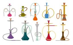 Hookah flat set with pipe for smoking tobacco and shisha. Collection isolated on white background Royalty Free Stock Image