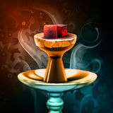 Hookah hot coals. Vector hookah hot coals on shisha bowl with steam on colorful background close up front view Royalty Free Stock Images