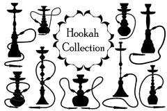 Hookah Icon Set Black Silhouette, Outline Style. Arabic Hookahs Collection Of Design Elements, Logo. Isolated On White Royalty Free Stock Images