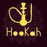 Hookah illustration  on purple background. Purple hookah illustration  on ornament background Royalty Free Stock Photography