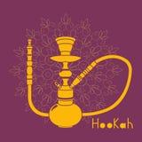 Hookah illustration  on white background. Purple hookah illustration  on ornament background Stock Photos