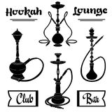 Hookah. Labels. Set of  vector silhouettes. logo Stock Image