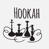 Hookah labels and smoke logo. Set of oriental nargile silhouettes. Isolated  traditional shishe Stock Photo