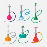 Hookah labels and smoke logo. Set of oriental nargile silhouettes. Isolated  traditional shishe Royalty Free Stock Photos