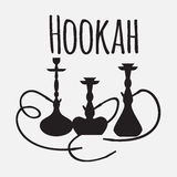 Hookah labels and smoke logo. Set of oriental nargile silhouettes. Isolated  traditional shishe Royalty Free Stock Images