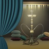 Hookah lounge interior. Vector big nargile for tobacco smoking made of metal with long hookah hoses, pillows and curtains Royalty Free Stock Photos