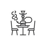 Hookah lounge line icon, outline vector sign. Linear style pictogram isolated on white. Shisha symbol, logo illustration. Editable stroke. Pixel perfect vector Stock Photos