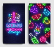 Hookah lounge menu design template vector. Hookah lounge typography modern trend design, vertical banners, nightlife. Neon advertising hookah. Vector vector illustration
