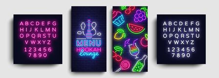 Hookah lounge menu design template vector. Hookah lounge typography modern trend design, vertical banners, nightlife. Neon advertising hookah. Vector stock illustration