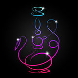 Hookah neon vector. Hookah neon silhouette for vector royalty free illustration