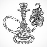 Hookah with oriental ornament and smoke.Vintage vector Stock Images