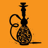 Hookah with phrase relax take it easy, illustration of hookah Royalty Free Stock Photography