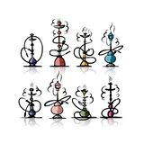 Hookah set, sketch for your design Stock Photography