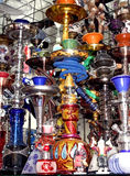 Hookah or shisha. Different colorful arabic hookahs in the eastern market Royalty Free Stock Image