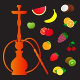 Hookah silhouette with different fruit flavors. Various flavor additives.   Royalty Free Stock Images