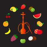 Hookah silhouette with different fruit flavors. Various flavor additives. Vector illustration for hookah menu. Royalty Free Stock Photography