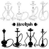 Hookah silhouette. Shisha, hookah black silhouette. Vector hookah illustration isolated on white Stock Image