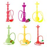 Hookah silhouettes with different fruit flavors. Various flavor additives. Vector illustration for hookah menu. Stock Photo