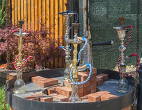 Hookah on the streets of the Old Town in Bucharest Stock Images