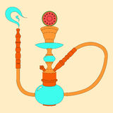 Hookah vector color illustration with fruit. Watermelon Royalty Free Stock Photos