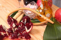 Hookah, wine and sweets Royalty Free Stock Image