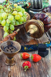 Hookah on  wooden table Royalty Free Stock Photography