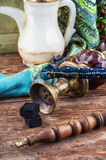 Hookah on  wooden table Royalty Free Stock Image