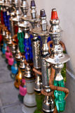 Hookahs in row. Hookahs (Hubble - Bubble) in row Royalty Free Stock Photo