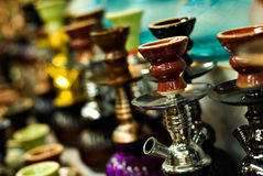 Hookas on display. In a middle eastern market Stock Image