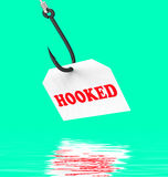 Hooked On Hook Displays Fishing Equipment Or Catch. Hooked On Hook Displaying Fishing Equipment Angling Or Catch Royalty Free Stock Images
