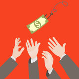 Hooked money and reaching hands Stock Images