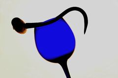 Hooked on Wine. Abstract background design made from empty wine glassware and a hook with a handle Stock Photography