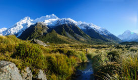 Hooker η διαδρομή κοιλάδων, τοποθετεί Cook, Νέα Ζηλανδία Στοκ Εικόνες
