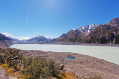 Hooker glacial lake at Mount Cook National Park, New Zealand Royalty Free Stock Photo