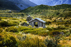 Hooker hut. The hooker hut is located on the Hooker valley walk in the Mt Cook National Park Royalty Free Stock Image