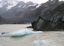 Hooker lake. Glacier ice floating on Hooker lake, New Zealand Stock Image